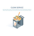 cleaning trolley with mop and household supplies vector image vector image