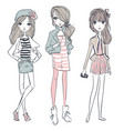 cute cartoon hipster girls vector image vector image