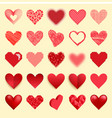 Differents red heart icons isolated love