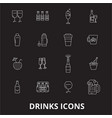 drinks editable line icons set on black vector image vector image