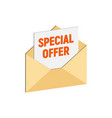 envelope with special offer email marketing vector image