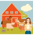 Farmer woman and animals banner vector image vector image