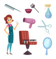 female barber at work stylist with different vector image vector image