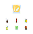 flat icon drink set of carbonated drink beverage vector image vector image