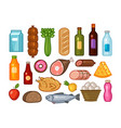 food and drinks icons set grocery shopping vector image vector image