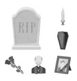 funeral ceremony monochrome icons in set vector image vector image