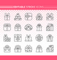 gift simple black line icons set vector image