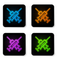 glowing neon crossed syringe icon isolated on vector image vector image