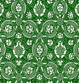 Green and white Seamless abstract floral lace vector image