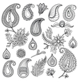Hand sketched vintage elements like leaves vector image vector image
