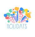 holidays logo template colorful hand drawn vector image vector image