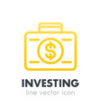 investing icon banking suitcase with money vector image vector image
