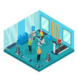 isometric pensioners in gym concept vector image