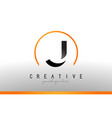 j letter logo design with black orange color cool vector image vector image
