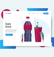 landing page template soda drink concept vector image