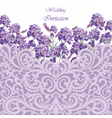 Lavender Card with lace ornamented border vector image vector image