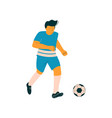 male soccer player footballer character in blue vector image