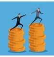 men business on pile coin growth collaboration vector image