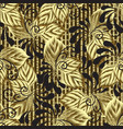 modern gold 3d leafy seamless pattern textured vector image vector image