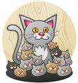 mother cat with a litter kittens vector image vector image