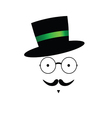 mustache face with hat color vector image vector image