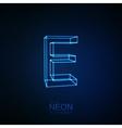 Neon 3D letter E vector image vector image