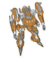 orange model robot on white background vector image vector image