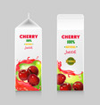 packages for cherry juice cardboard pack vector image