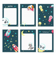 planner template with cute space animals vector image vector image