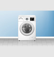 realistic washing machine in empty laundry room vector image