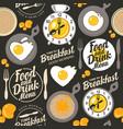 seamless pattern on theme breakfast vector image vector image