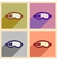 Set of flat web icons with long shadow ski goggles vector image vector image