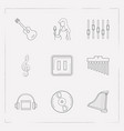 set of studio icons line style symbols with singer vector image