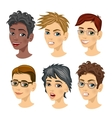 set of teenager boy avatar expressions vector image vector image