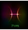 Shining neon zodiac Pisces symbol vector image