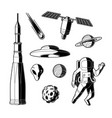 silhouette space cosmos objects icon set vector image