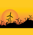 silhouette wind wheel electric energy with vector image