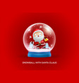 snow globe ball with santa claus merry christmas vector image vector image