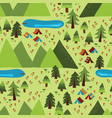 summer mountain camping seamless pattern vector image vector image
