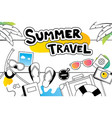 summer travel doodle symbol and objects icon vector image vector image