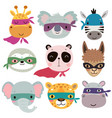 superhero animal faces cute hand drawn characters vector image vector image
