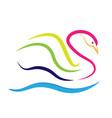 swan line art symbol vector image vector image