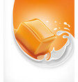 sweet caramel candy on milk splash vector image vector image