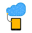 tablet connect to cloud technology vector image vector image
