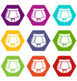 underpants retro icons set 9 vector image vector image