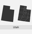 utah map counties outline vector image vector image