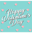 white happy valentines day mini pink heart blue bl vector image vector image