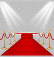 White round podium with red carpet