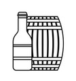 wooden barrel bottle beer isolated design vector image vector image