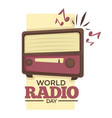 world radio day retro music broadcasting device vector image vector image